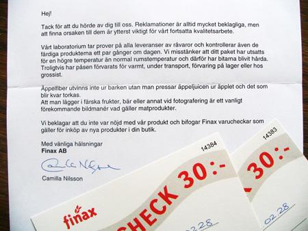Brev från Finax